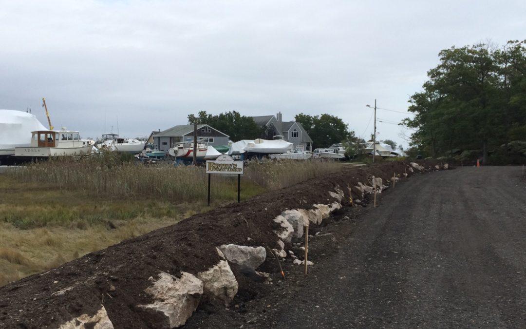 Chaffinch Island Road is raised